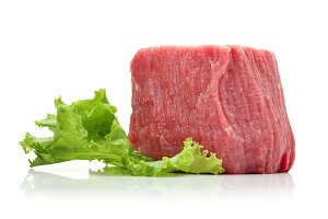 raw beef meat with lettuce