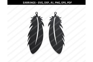 Feather earrings,svg,dxf,ai,eps,png