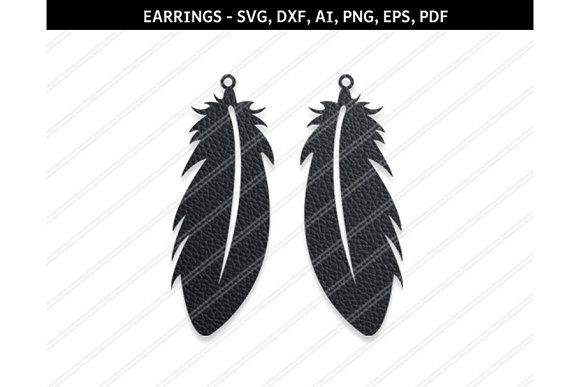 Feather Earrings Svg Dxf Ai Eps Png