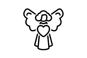 icon. Angel with heart, Valentine's