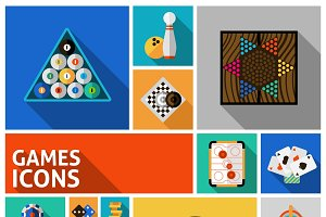 Games decorative icons set