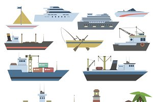 Ships and sailing vessels icons