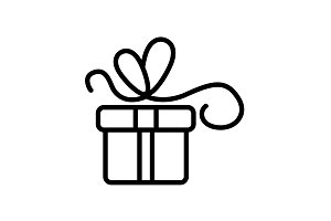 Web line icon. Gift, festive box.