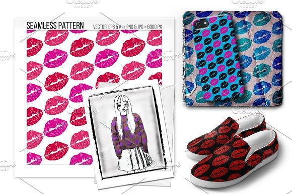 Seamless Lipstick Kiss Vector Print