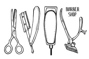 Barber shop set vector