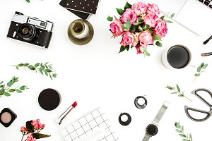 Stylish accessories and flowers