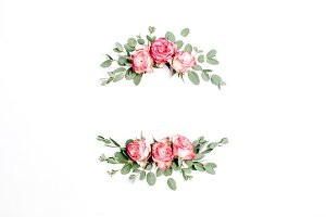 Frame of rose flowers