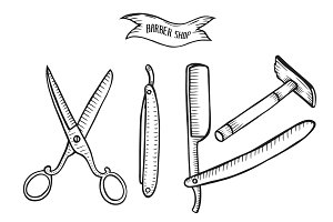 Barber shop set vector