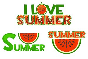 Illustration watermelon, I Love summer, summer singl