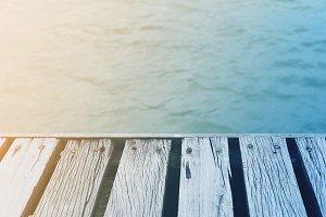 Vintage summer time wooden deck
