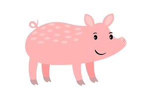 Pig cartoon pink farm animal