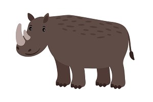 Rhino grey safary animal icon