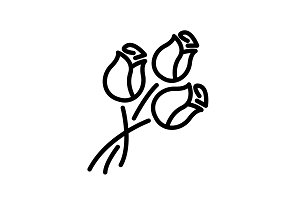 Web line icon. Bouquet of roses.