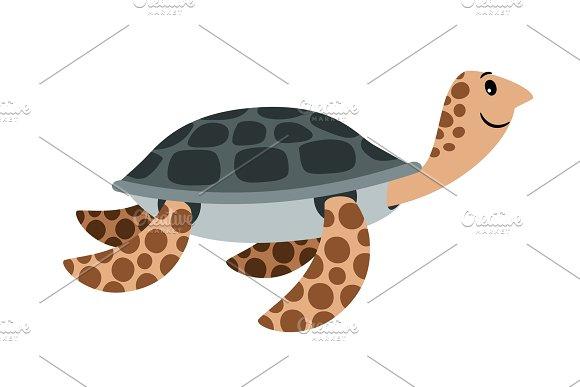 Sea Turtle Cute Cartoon Animal