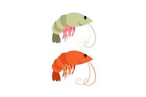 Shrimps cartoon icons set