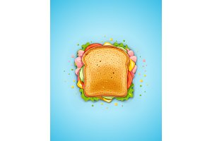 Sandwich. Fried bread with cucumber.