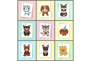 Puppies and Dogs Poster Set Vector Illustration