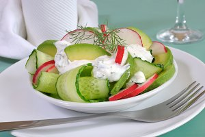 Cucumber salad with radish