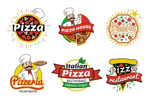 Italian Pizza Restaurant Logos Vector Illustration