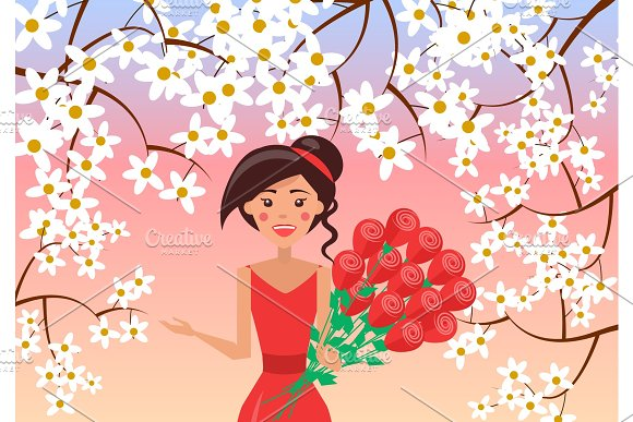 Elegant Woman With Big Bunch Of Roses Illustration