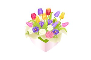 Flowers Oval Decorative Box luxury Tulips Crocus