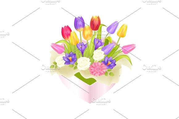 Flowers Oval Decorative Box Luxury Tulips Crocus