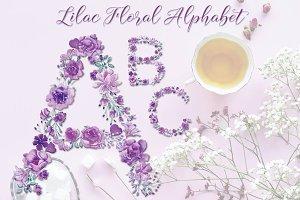 Lavender floral alphabet