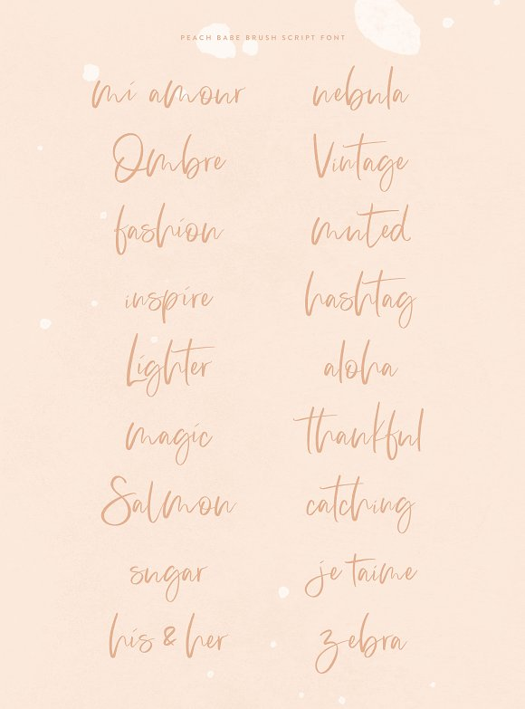 Peach Babe Hand Lettered Brush Font Script Fonts Creative Market