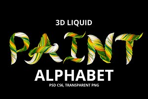 3D Liquid Paint Alphabet