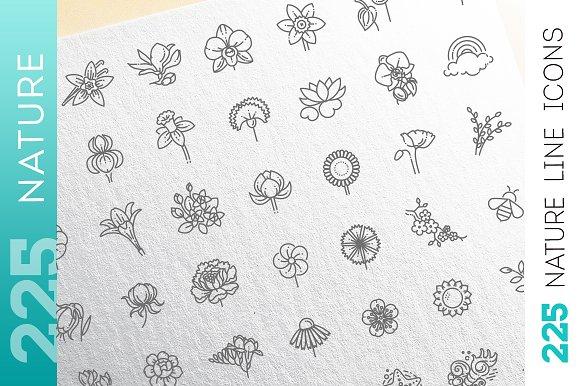 Line Nature Concepts Icons Set