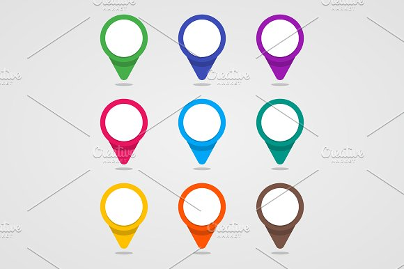 Set of colorful map pointer.