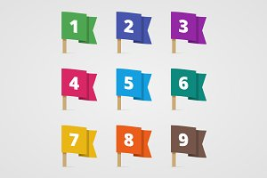Set of colorful flags with numbers