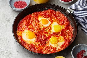 Traditional jewish and middle eastern dish shakshuka