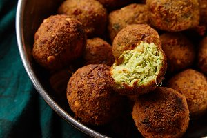Overhead image of traditional jewish and middle eastern dish falafel