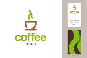 Coffee house logo and business card