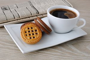 cup of coffee and biscuits