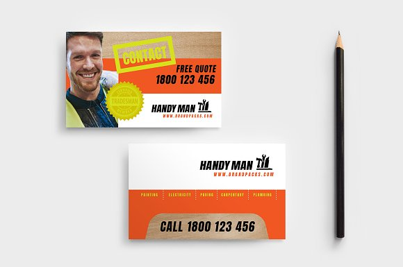 Handyman business card template business card templates creative handyman business card template friedricerecipe Image collections