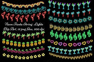 Neon Fiesta String Lights Clip Art