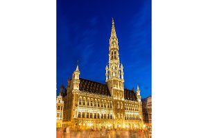 Brussels city hall in the evening - Belgium