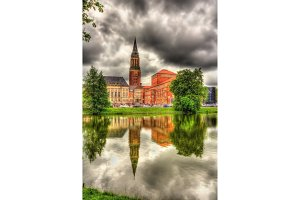 Kiel city hall with reflection from a water surface - Germany