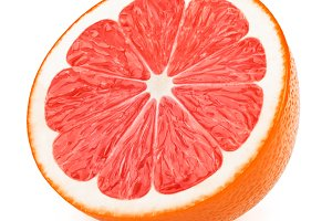 Half of grapefruit fruit slice isolated on white