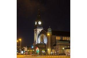 NIght view of Hamburg main railway stationl, Germany