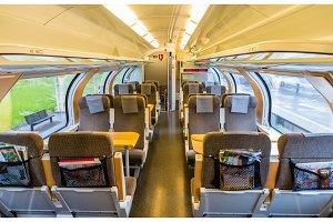 Interior of Sweden suburban train, upper deck