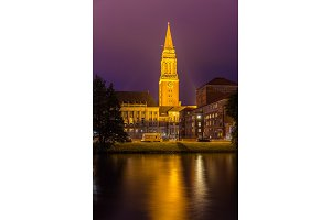 Night view of Kiel city hall, Germany