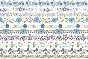 Violet mint flower border divider