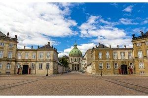 Amalienborg Palace and Marmorkirken in Copenhagen, Denmark