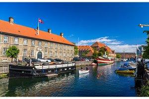 Boats on a canal in Copenhagen, Denmark