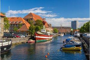 Canal in Copenhagen city center, Denmark