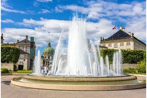 Fountain in Amaliehaven garden in Copenhagen, Denmark