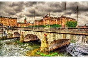 Norrbro bridge and Parliament in Stockholm, Sweden